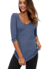Michael Stars Shine 3/4 Sleeve Double V-Neck