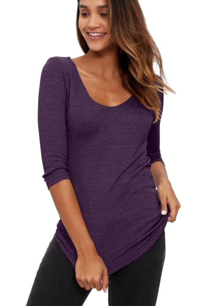 Michael Stars Shine 3/4 Sleeve Double V-Neck Mulberry