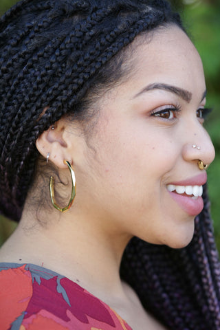 Betsy & Iya Bombona Hoop Earrings in Sterling Silver - Small