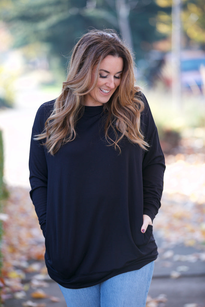 Shine L/S Oversized Slouchy Top Black