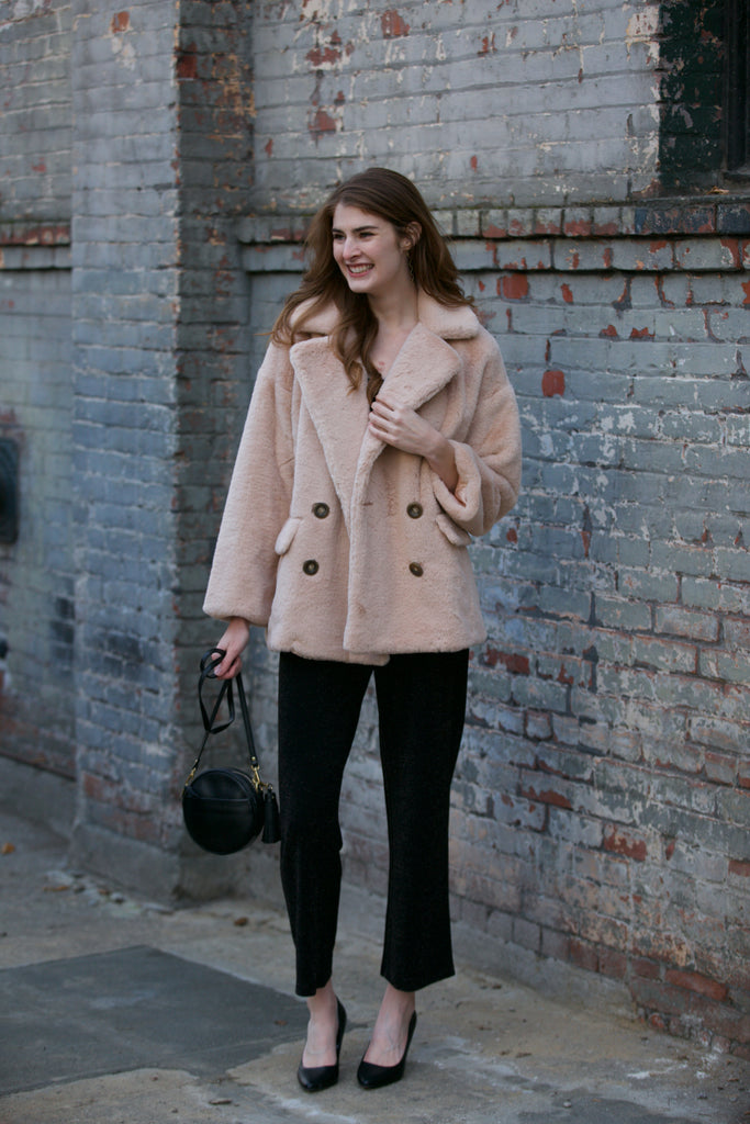 Free People Solid Kate Faux Fur Coat Rose