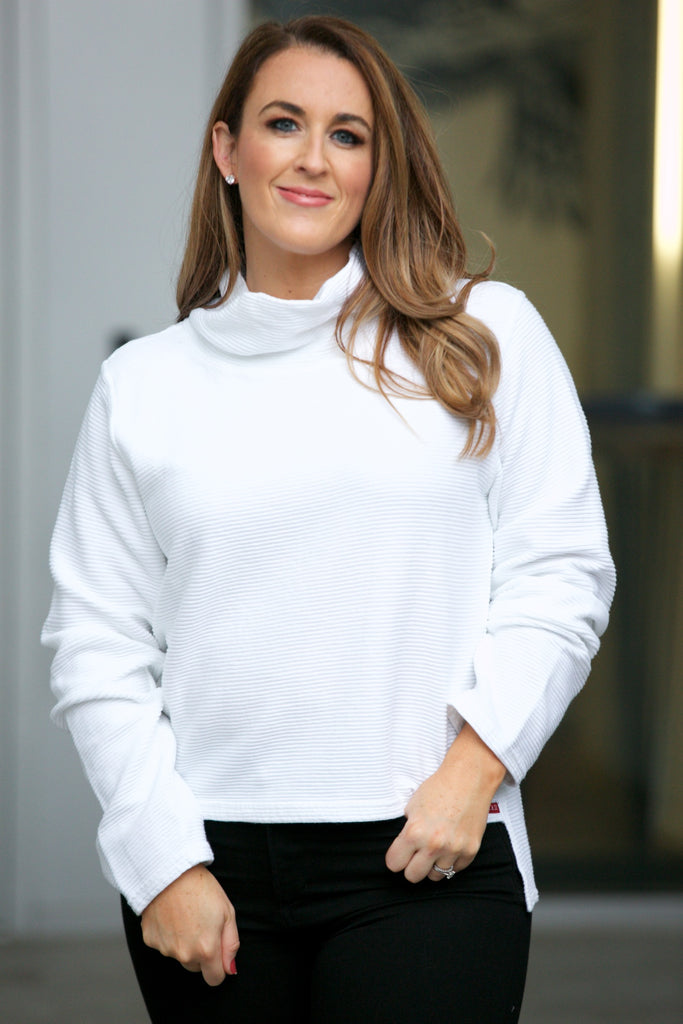 Hard Tail Cowl Neck Pullover White