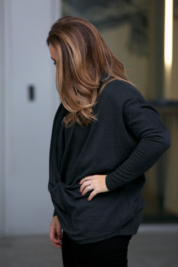 Hard Tail Slouchy L/S Twisted Pullover - Classic
