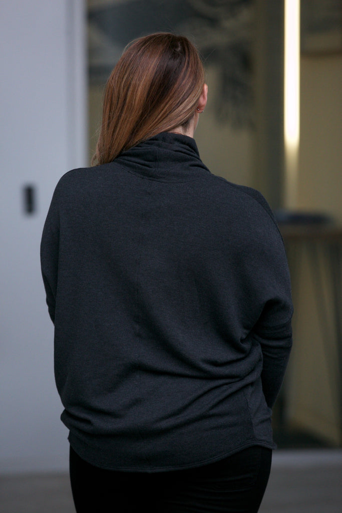Hard Tail Slouchy L/S Twisted Pullover Black