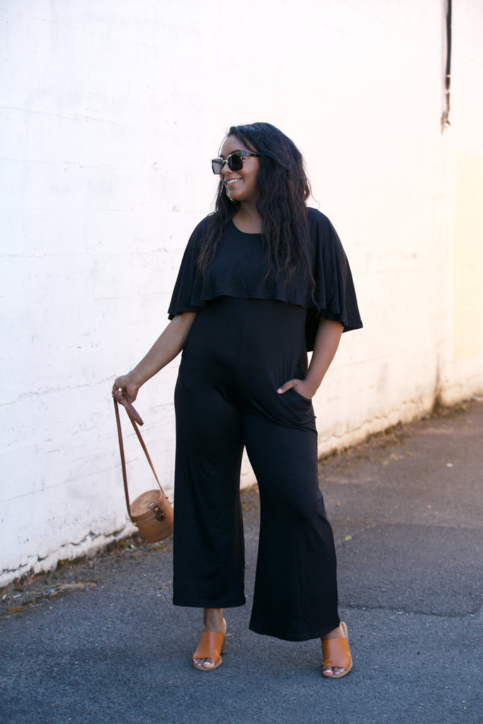 ADORN Caped Wide Leg Jumpsuit