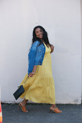Mystree Button Down Ruffle Maxi Dress