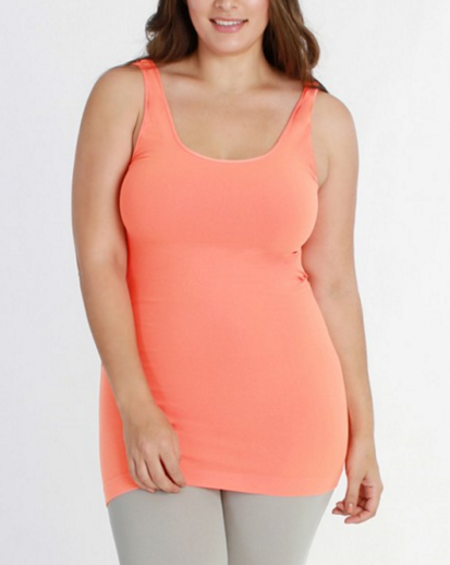 Niki Biki Plus Size Long Camisole in Coral Peach