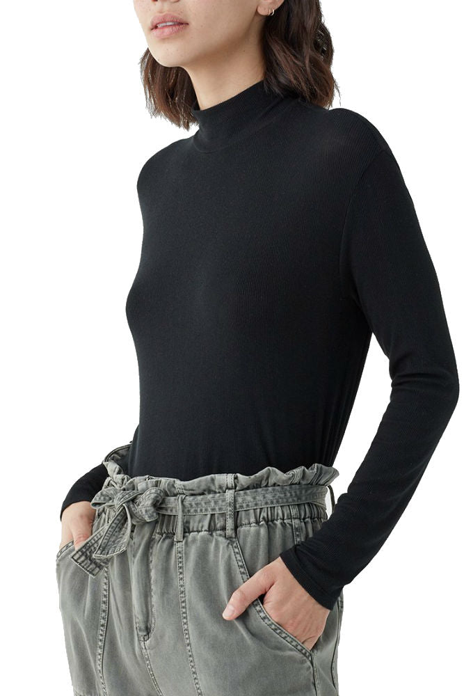 Splendid 2X1 Rib Eastsider Mock Neck Top