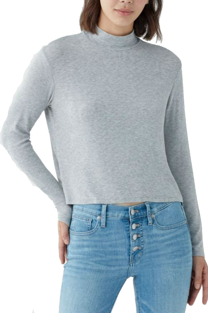 Splendid 2X1 Rib Eastsider Mock Neck Top Heather Grey