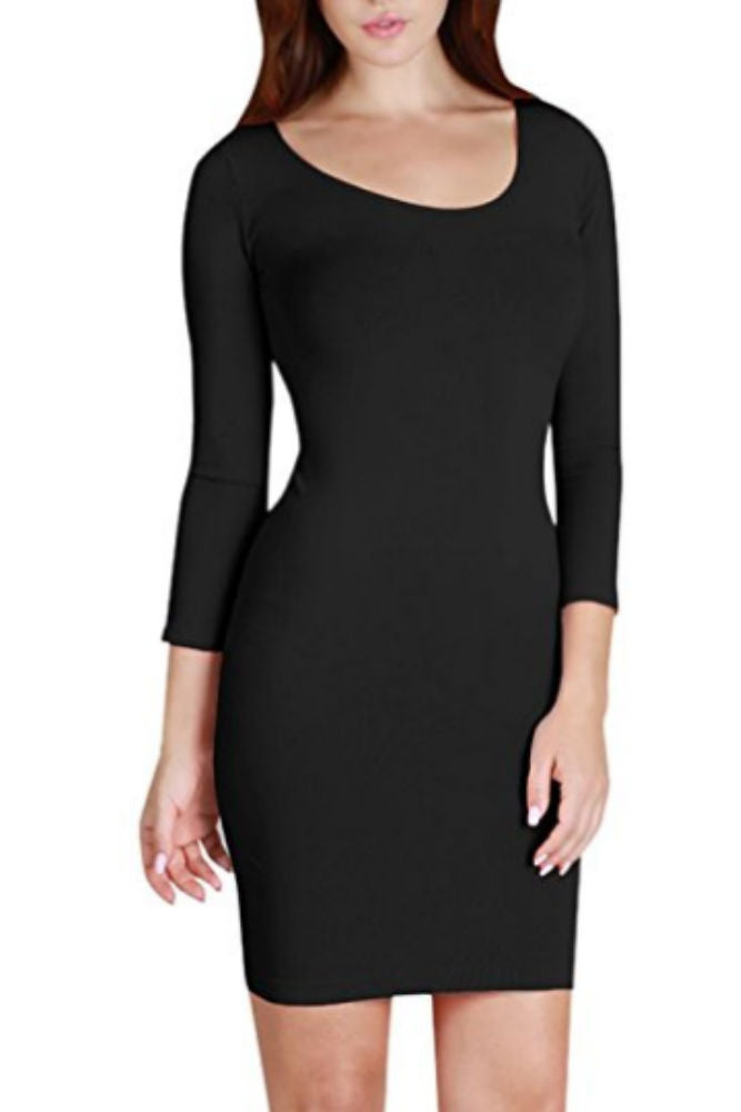 Niki Biki 3/4 Sleeve Scoop Neck Dress