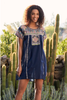 3J Workshop Tamia Peasant Tunic Dress Granite Blue