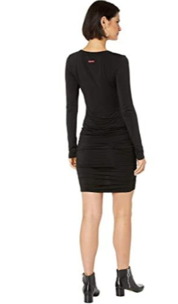 Hard Tail Long Sleeve V-Neck Shirred Dress - Classic