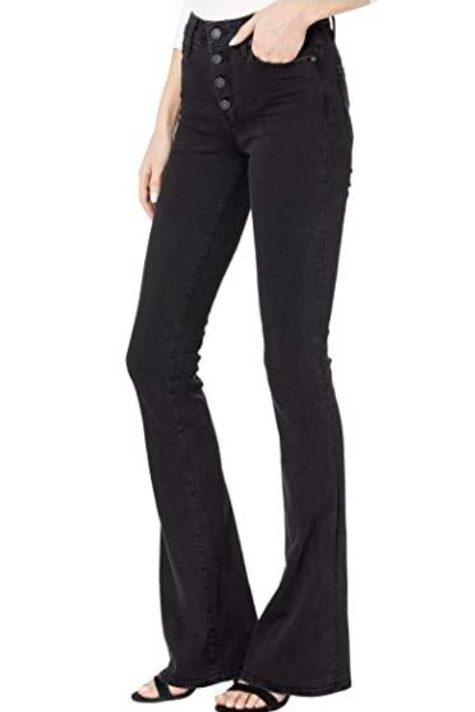 Paige High Rise Lou Lou w/Exposed Buttonfly in Black Sundown