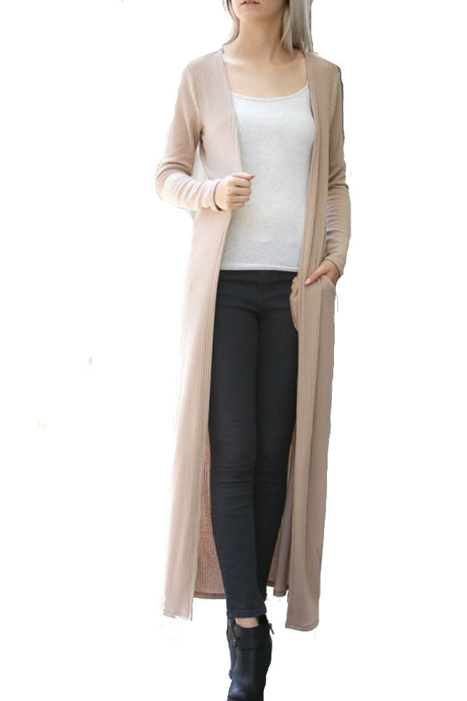My Story Long Maxi Cardigan in Taupe