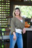 ADORN Crossover Blouse Olive