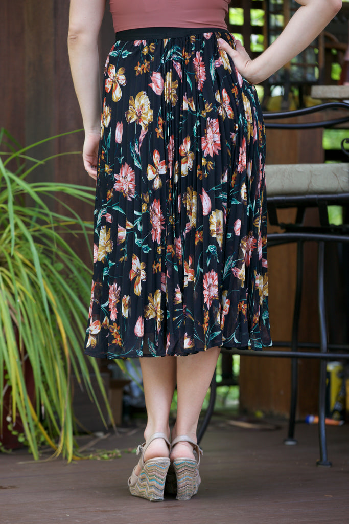 ADORN Floral Pleated Midi Skirt