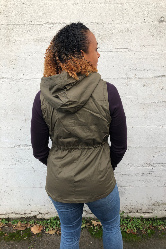 ADORN Faux Fur Lined Hooded Anorak Vest