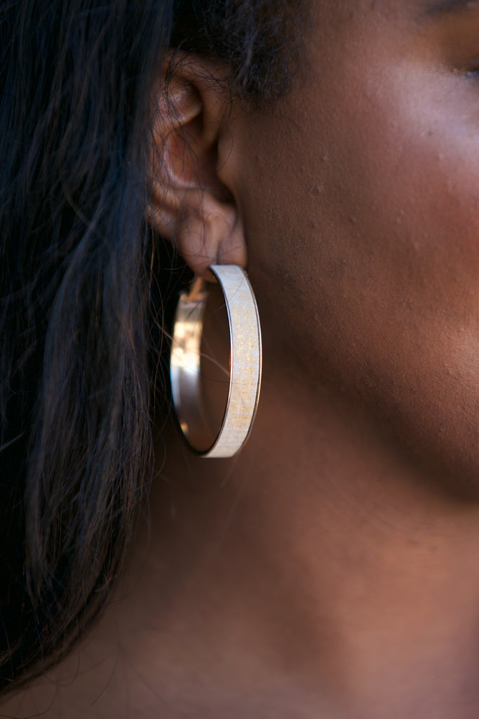 ADORN  Genuine Leather Hoop Earrings Natural