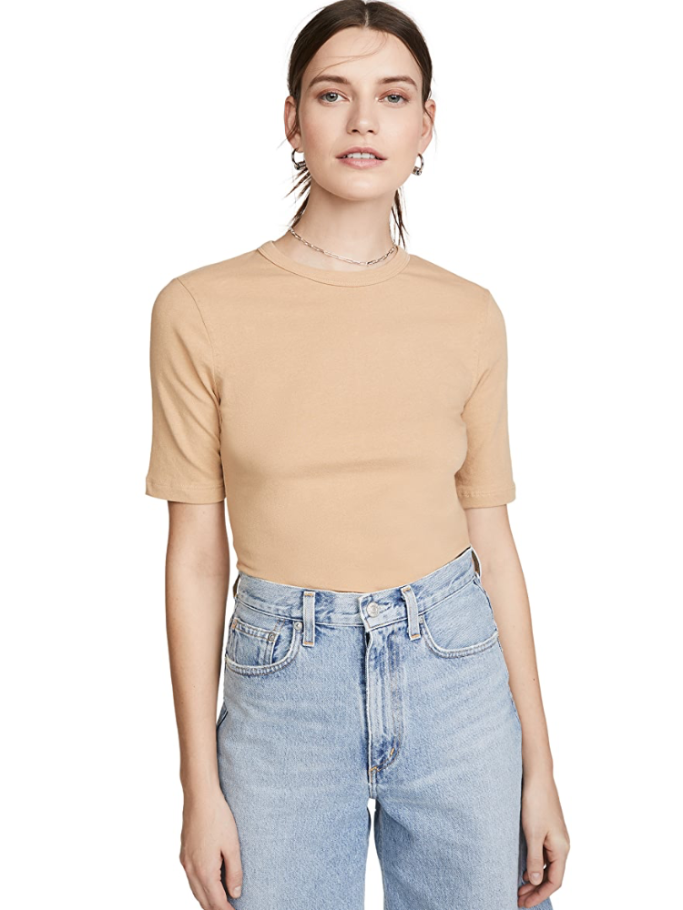 AGOLDE Elie Mid Length Sleeve Fitted Tee noodle