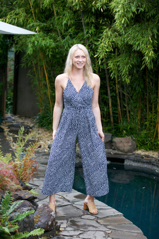 HOLIDAY Rust Palm Strapless Jumpsuit