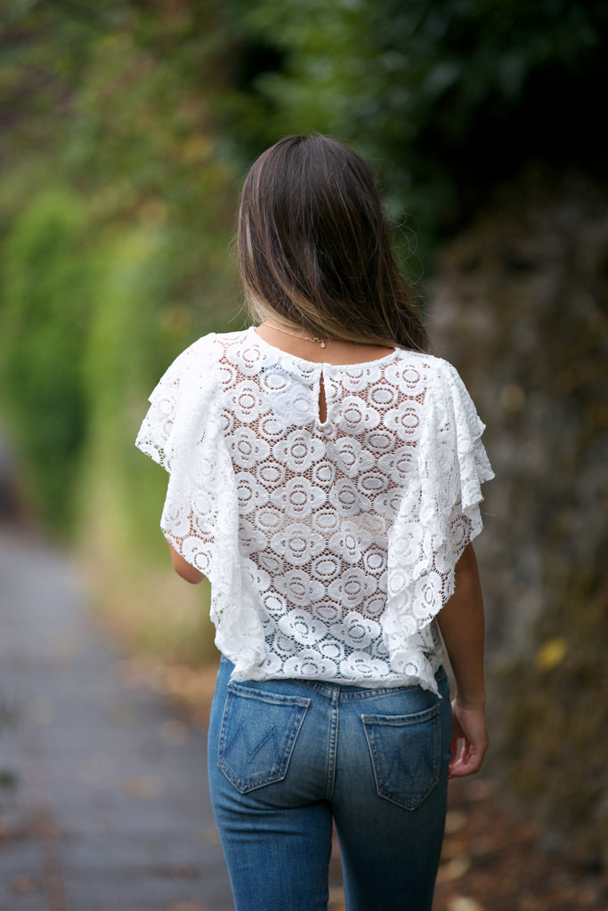ADORN Lace Ruffle Sleeve Top