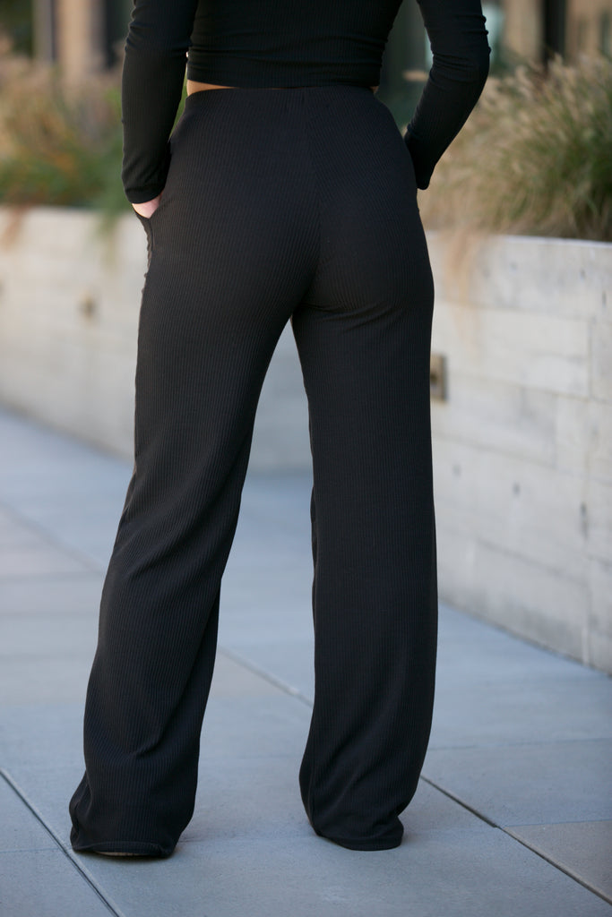 ADORN Wide Leg Ribbed Pants