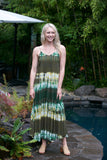 ADORN Tie Dye Tie Back Dress Yellow Green