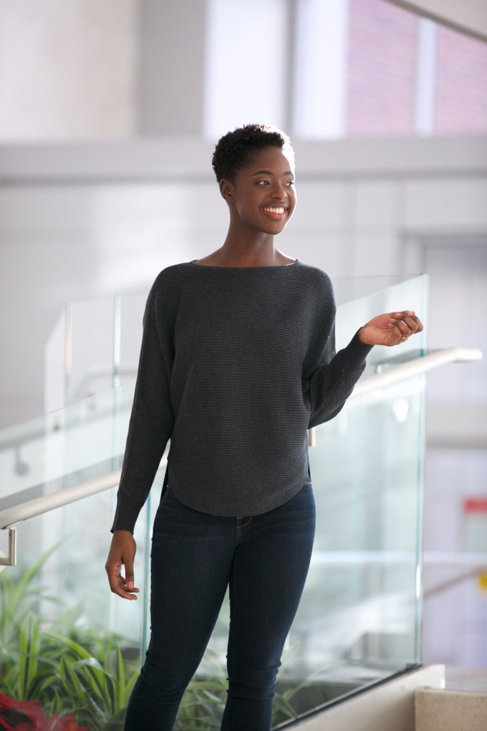 BLVD Dolman Sweater in Charcoal