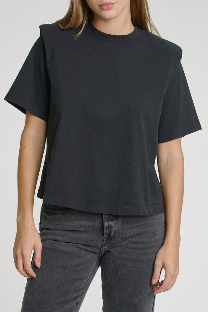 PISTOLA Brileigh Shoulder Pad Pleat Tee Black