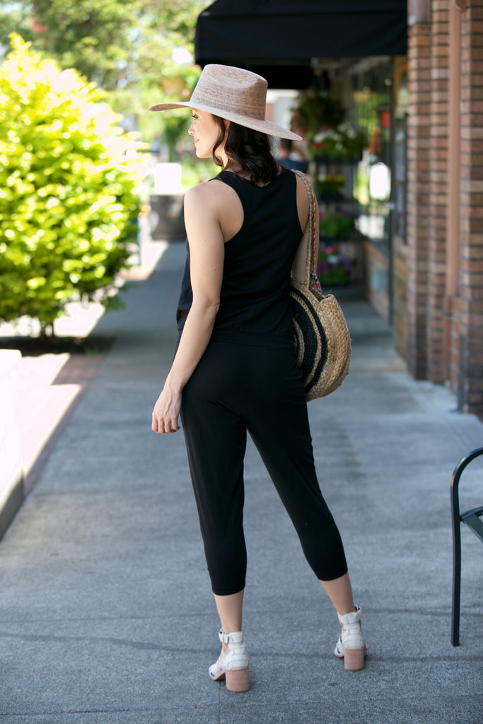 Bobi Drawstring Jumpsuit Black