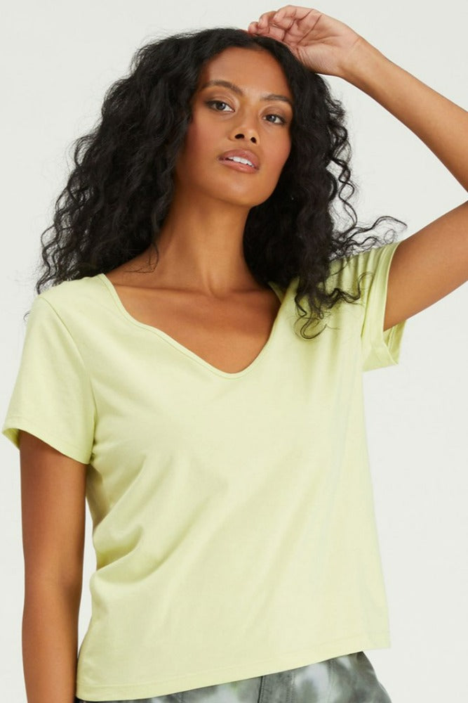 Sanctuary Soft V Neck Tee Frozen Lime