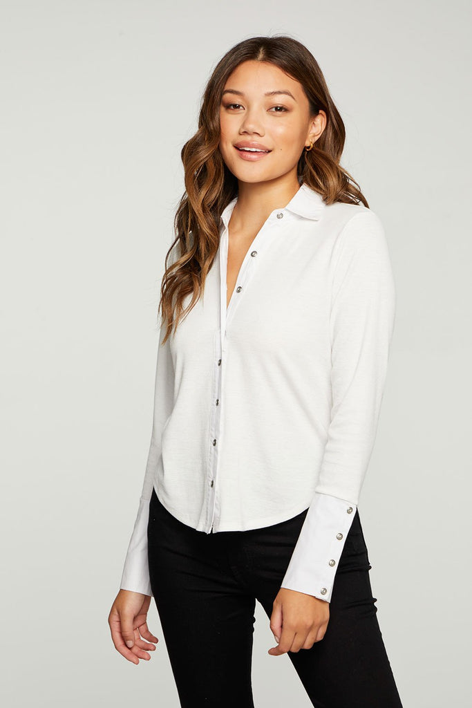 CHASER Linen Rib Mixed Poplin Button Down White