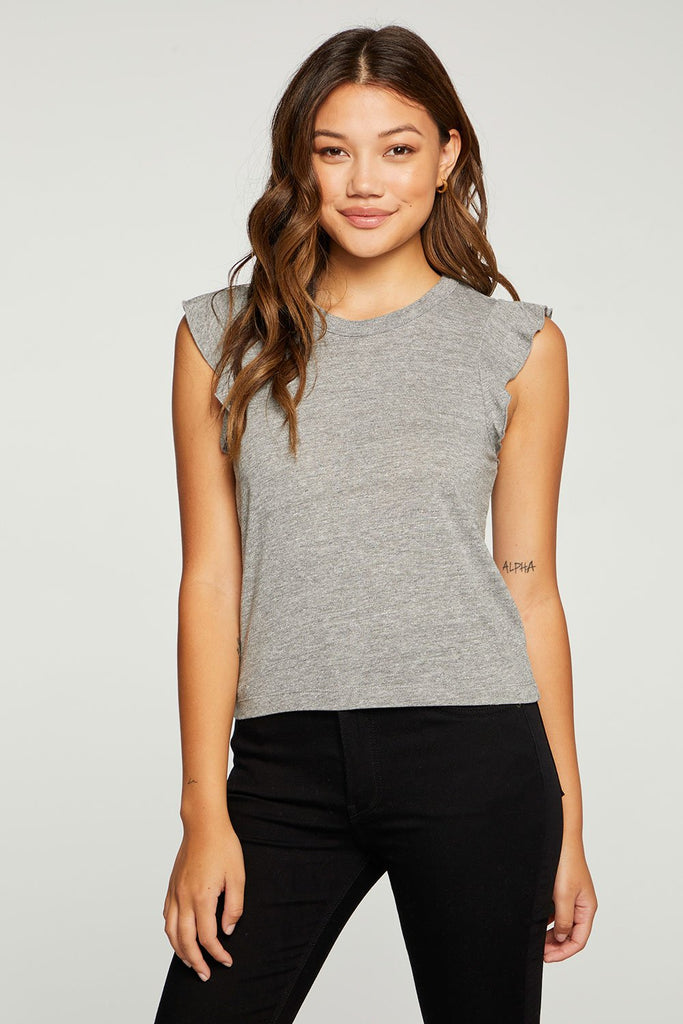 CHASER Triblend Jersey Cropped Flutter Sleeve Tee Streaky Grey
