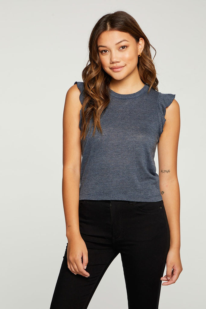 CHASER Triblend Jersey Cropped Flutter Sleeve Tee