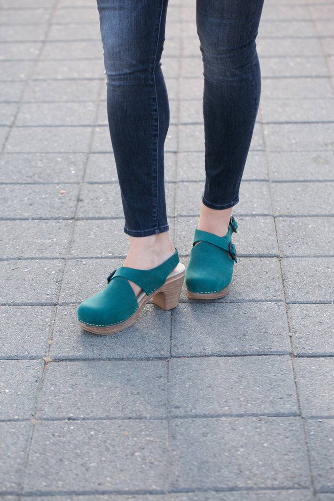 Calou Astrid High Heel Clog in Forest Green