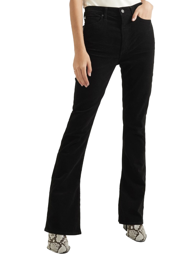 Citizens of Humanity Georgia High Rise Bootcut in Black Black Corduroy