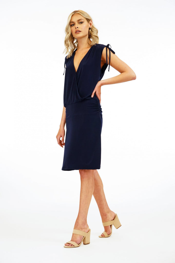 Veronica M. Sleeveless Surplice Drop Waist Dress