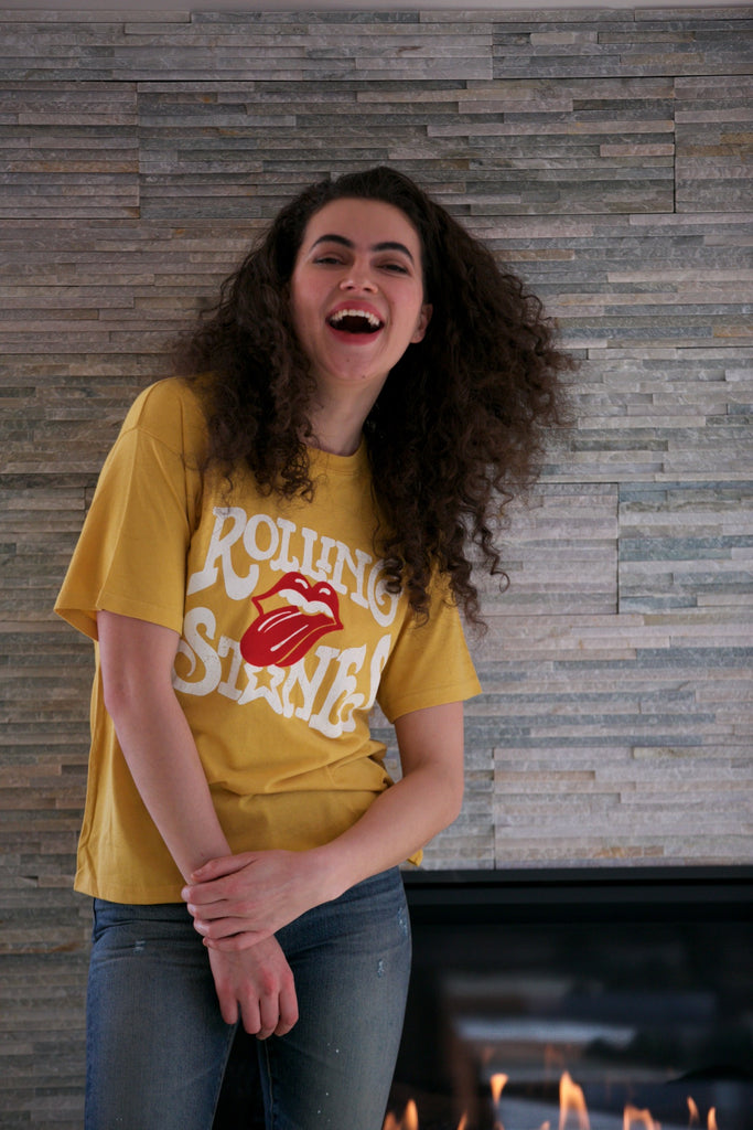 DAYDREAMER Rolling Stones Flocked Tongue Boyfriend Tee