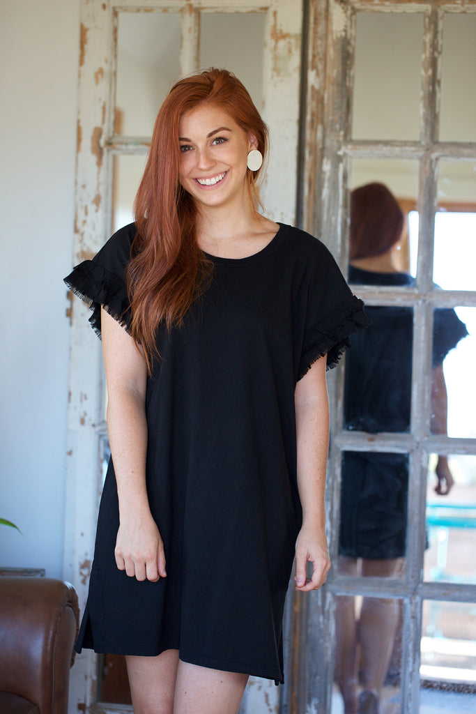 CURRENT/ELLIOTT The Recrafted Ruffle Dress in Black