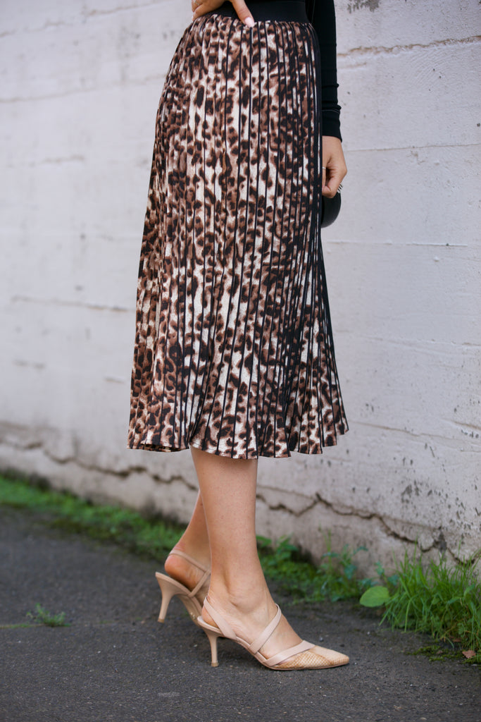 Ellison Pleated Leopard Print Midi Skirt