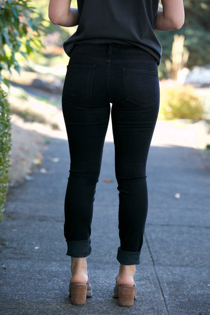 Fidelity Belvedere High Rise Skinny in Shadow Black