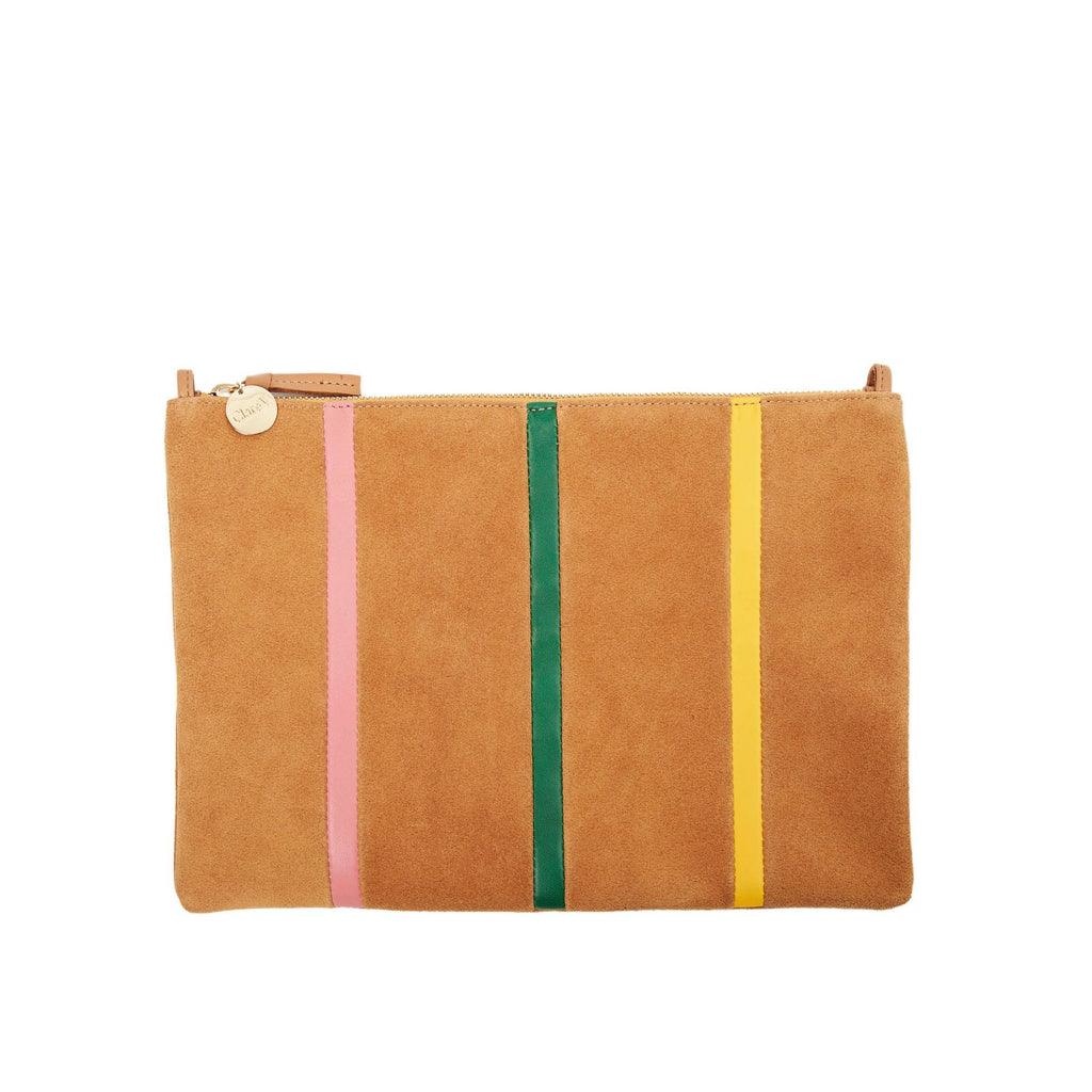Clare V. Flat Clutch w/ Tabs Camel Suede with Stripes