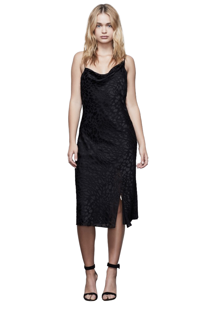 Good American Midnight Leopard Burnout Dress Black 001