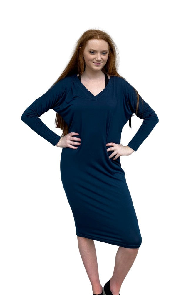Hard Tail Long Sleeve Slouchy V-Neck Dress  Palmetto