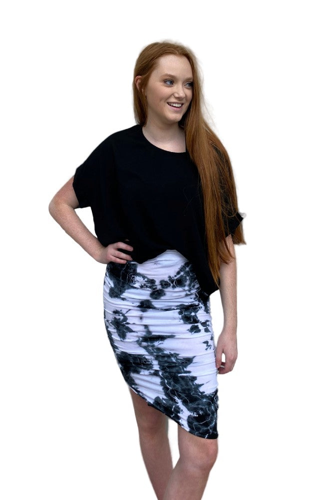 Hard Tail Shirred Poet Skirt in Moon