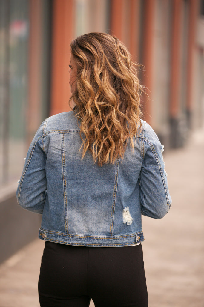 HOLIDAY Distressed Denim Jacket w/Pockets