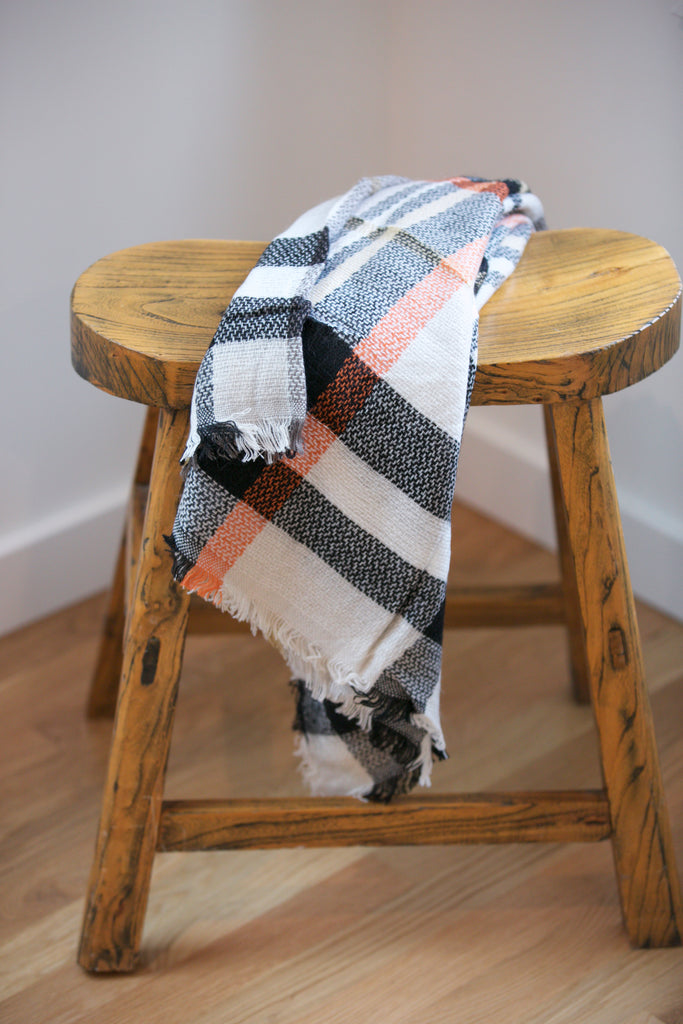 HOLIDAY Frayed Edge Plaid Scarf