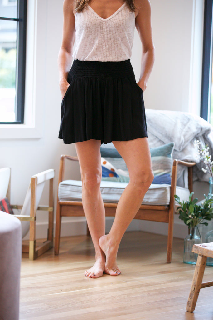 HOLIDAY Rayon Twill Flowy Shorts