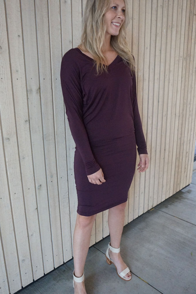 Hard Tail Long Sleeve Slouchy V-Neck Dress - Fall