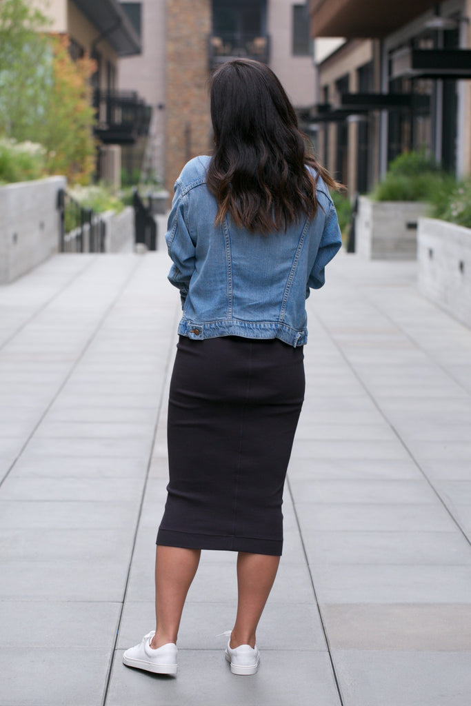 Hard Tail Calf Length Pencil Skirt in Raven